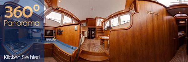 Panorama in der Yacht. Küche