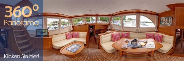 Panorama in der Yacht. Wohnraum